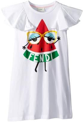 Fendi Ruffle Sleeve Dress w/ Watermelon On Front Girl's Dress