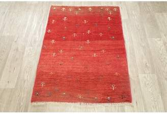Rugsource Tribal Gabbeh Persian Design Red Area Rug Hand-Knotted Oriental Kitchen Carpet 3 X 3 (3' 5'' X 2' 6'') Rugsource