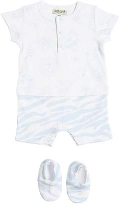 Kenzo Printed Cotton Jersey Romper & Booties