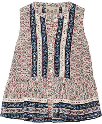 SEA - Crochet-trimmed Printed Silk Peplum Top - Blue $295 thestylecure.com