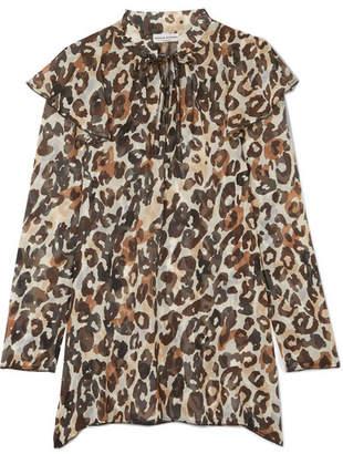 Sonia Rykiel Leopard-print Silk-chiffon Blouse - Brown