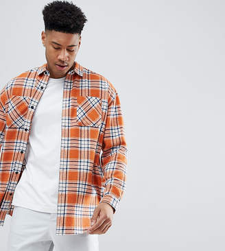 Asos Design Tall Oversized Longling Check Shirt With Bleach Wash