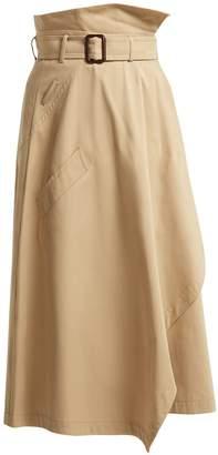 Max Mara Paperbag-waist cotton midi skirt