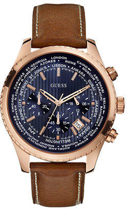 GUESS Mens Chronograph Honey Brown Genuine Leather Watch 46mm W0500G1
