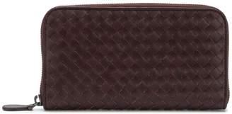 Bottega Veneta dark barolo Intrecciato zip around wallet