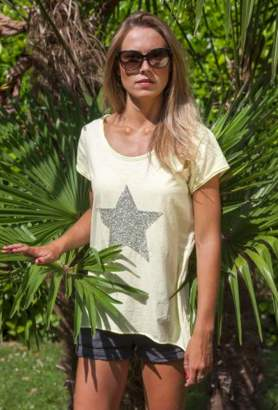Luella One Size Cotton Tee in Yellow with Star & Sequins - one size | cotton | lemon yellow | silver sequin