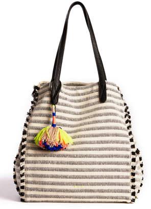 Splendid Striped Pom Ibiza Fabric Tote Bag