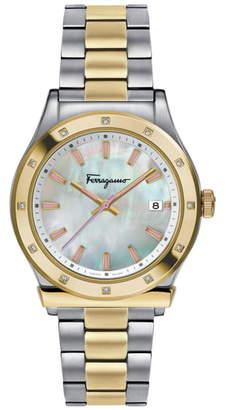 Salvatore Ferragamo 1898 Diamond Bracelet Watch, 40mm