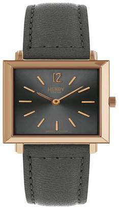 Henry London Heritage Square Rose Gold Stainless Steel Case Gray Dial and Gray Leather Strap
