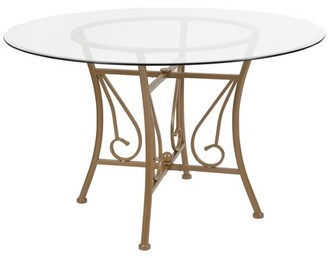 Flash Furniture Princeton 48'' Round Glass Dining Table with Matte Gold Metal Frame