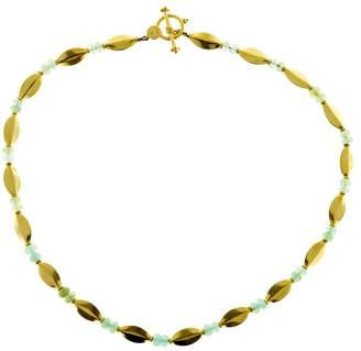 22K Yellow Gold with Faceted Bead Toggle Link Necklace