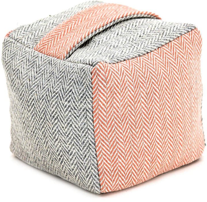 Tweedmill - Tweed Cube Door Stop - Herringbone Silver Grey/Dusky Pink