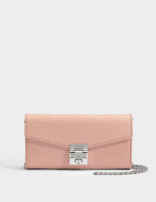 MCM Large Wallet with Center Zip and Chain in Blush Pink Park Avenue Leather