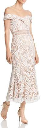 Jarlo Off-the-Shoulder Lace Midi Dress