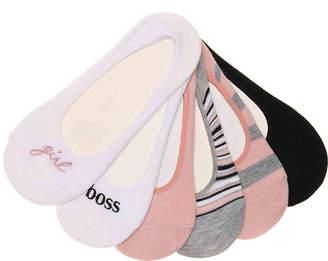Steve Madden Embroidered Girl Boss No Show Socks - 6 Pack - Women's