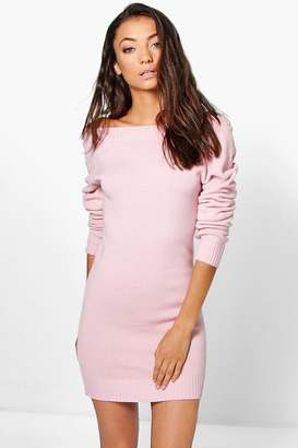 boohoo Tall Sady Knitted Off The Shoulder Dress