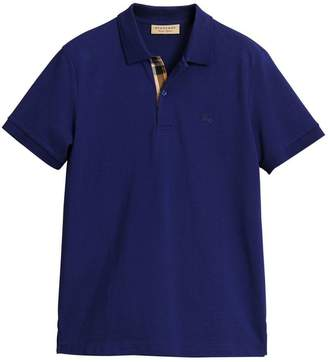 Burberry Check placket piqué polo shirt