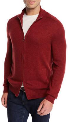Loro Piana Men's Bantiger Cashmere-Silk Bomber Sweater