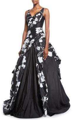 Rubin Singer Off-the-Shoulder Scribble-Print Hand Draped Taffeta Evening Gown