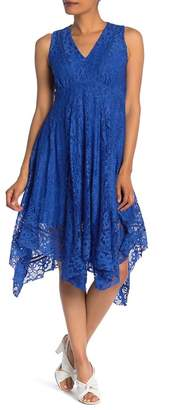 Taylor V-Neck Lace Asymmetrical Midi Dress