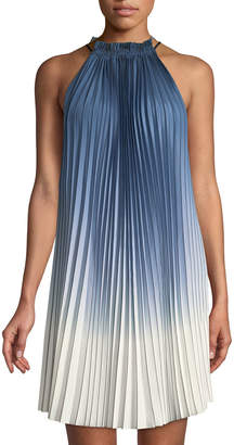 Max Studio Pleated Ombre High-Neck Dress