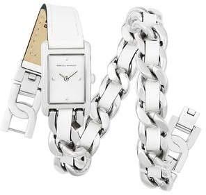 Rebecca Minkoff Moment Silver Tone Double Wrap Watch, 19x30mm