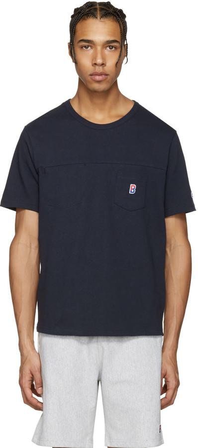 Champion x Beams Navy Two Pocket Logo T-Shirt