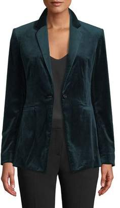 Theory Power Velvet One-Button Blazer Jacket
