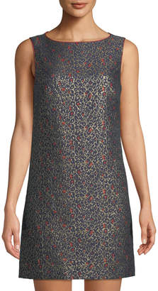 Betsey Johnson Metallic Leopard Sleeveless Jacquard Sheath Dress