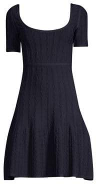 Herve Leger Short Sleeve Jacquard A-Line Dress