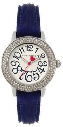 Betsey Johnson Stainless Steel Blue Fur Strap Watch