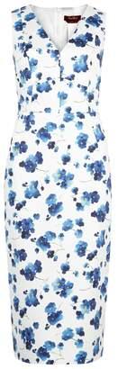 Max Mara Merlot Floral-print Stretch-cotton Dress