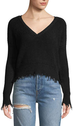 Marled by Olivia Culpo Destroyed V-Neck Cropped Pullover Sweater