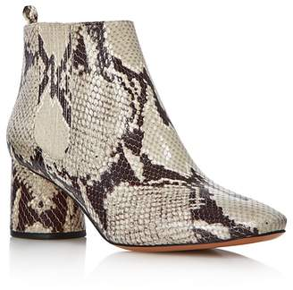 Marc Jacobs Women's Rocket Snake-Embossed Leather Round Block Heel Chelsea Booties