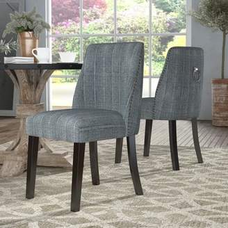 Gracie Oaks Rouet Pinstripe Upholstered Dining Chair