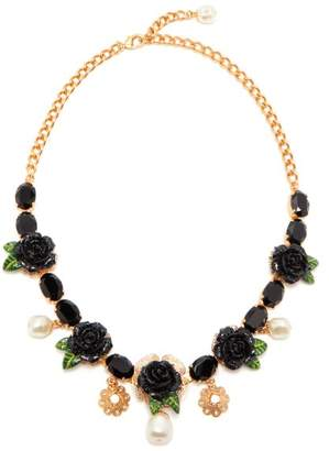 Dolce & Gabbana Rose And Crystal Embellished Necklace - Womens - Black