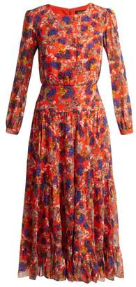 Saloni Isabel Azalea Print Silk Dress - Womens - Red Multi