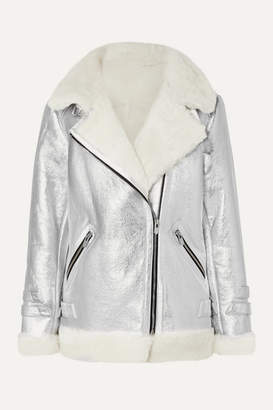 The Mighty Company - The Hayle Shearling-trimmed Metallic Leather Biker Jacket - Silver