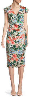 Alice + Olivia Garnet Floral-Print Silk Wrap Dress