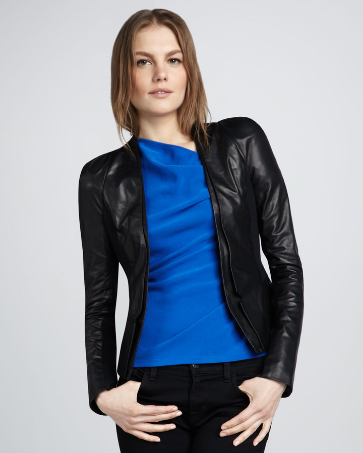 Halston Leather Blazer