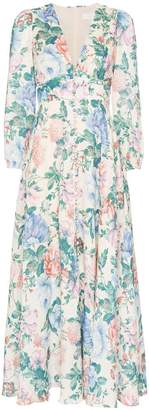Zimmermann Verity plunge floral print dress