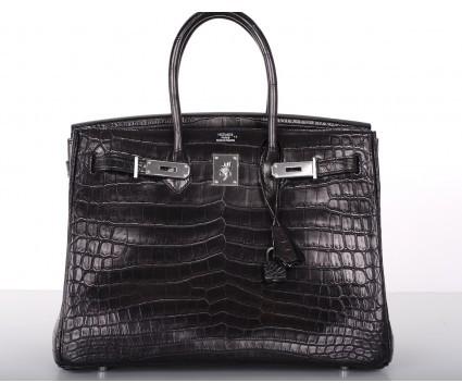 Hermes pristine (PR Black Matte Croc 35cm Birkin Bag Palladium Hardware