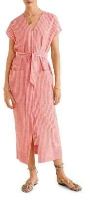 MANGO Striped Tie-Front Dress
