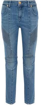 Pierre Balmain Moto-Style Mid-Rise Skinny Jeans