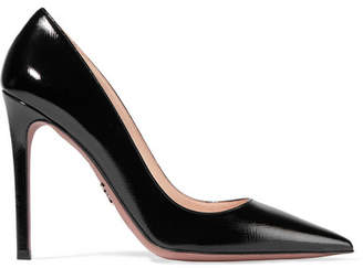 Prada - Glossed Textured-leather Pumps - Black $670 thestylecure.com