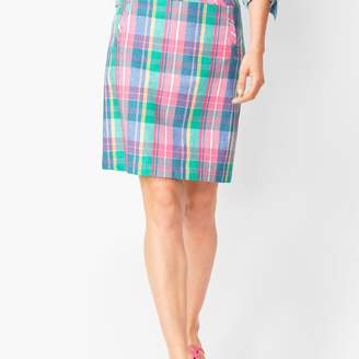 Talbots Madras Plaid Linen-Blend Skirt