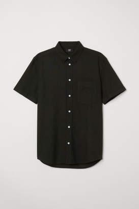 H&M Slim Fit Linen-blend Shirt - Black