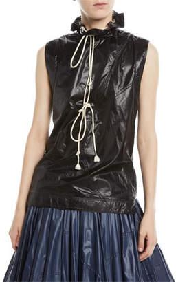 Calvin Klein Sleeveless Drawstring Stand-Neck Nylon Top