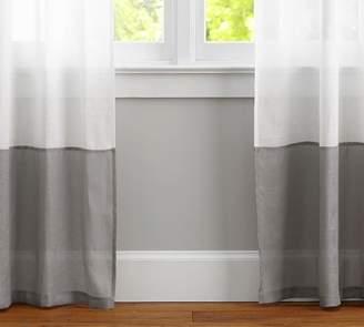 Pottery Barn Belgian Linen Bottom Border Sheer Curtain - White/Smoke