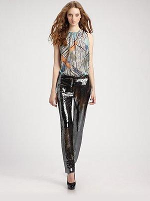 Sequined Jersey Pants